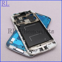Wholesale Lcd S4 Black - 10pcs lot For Samsung Galaxy S4 I545 R970 L720 LCD Frame Front Housing Middle Frame Bezel Plate + Home Button, (Black&White)