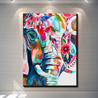 Wholesale Wall Pictures Cartoon - Vintage abstract elephant creative posters painting pictures print on the canvas,Home Wall art decoration retro animal canvas painting poste