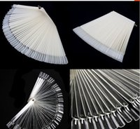 Wholesale Nail Practice Fingers Wholesale - 50Pcs Lot Hot Selling Nails Tools White Transparent False Nail Art Tips Sticks Polish Display Fan Practice Tool Board