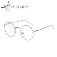 Wholesale vintage optic glass - Luxury Brand Round Frames Eyeglasses For Women Vintage Steampunk Brand Designer Glasses Classic Optics Glasses Aviation Alloy Frame Glasses