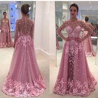 Wholesale African Lace Dress - Pink Vintage Lace Overskirt Evening Dresses 2017 A Line illusion Long Sleeves Zuhair Murad Plus Size African Arabic Formal Prom Party Gowns