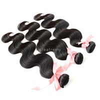 """Wholesale 12 16 Indian Wave - 100% Indian Dyeable Unprocessed Human Hair Extensions 12""""14""""16"""" Indian hair Weft Weave Body Wave Natural Color 7A 3pcs Double Weft"""