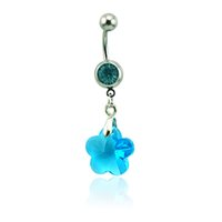 Brand New Belly Button Anneaux 316L Acier inoxydable Barbells Dangle 4 couleurs acrylique Star Navel Rings Body Piercing Bijoux