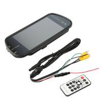 televisores espejo al por mayor-7 pulgadas TFT LCD espejo de coche MP5 reverso del coche monitor de pantalla táctil para SD USB FM para DVD TV Cámara de estacionamiento Nuevo