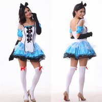 Wholesale Sexy Alice Wonderland Costumes - Alice In Wonderland Dress Fantasy Blue Maid Outfit Adult Fairy Tale Costume Halloween Cosplay Sexy Skirt Headdress With Gloves