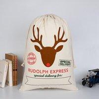 Wholesale Kids Bags Sale - Hot Sale Christmas Gift Bags Large Organic Heavy Canvas Bag Santa Sack Drawstring Bag With Reindeers Santa Claus Sack Bags for kids