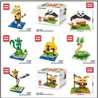 Wholesale Panda Jigsaw - 8.5cm box kung fu panda toys Series 3d jigsaw puzzle Cartoon figures blocks Toys for Kids Diamond Bricks Building Blocks