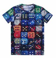 Wholesale Animal Graphics - tshirt Fashion Men Women 3d t-shirt printed Colorful Dice Tops Tees t shirt men short sleeve cartoon Graphic Tshirt A5