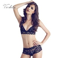 Wholesale Lace Comfort Sexy Set - Wholesale-Thin transparent lace embroidery sexy bra set breathable comfort underwear for women