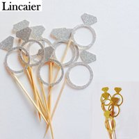 Vente en gros - Lincaier 10pcs Paper Argent Or Diamant Bague Cupcake Toppers Papillons Candy Wrapper Cases Liners Décorations Décorations Fournitures