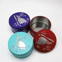 Wholesale Bride Wedding Tin Box - Round tin wed favor box bride groom box favor candy gift favor red purple blue party decoration