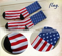 Wholesale Flag Stockings - Wholesale-medium thickness sock stocking Couples tide Harajuku socks Torx American flag stars stripes cotton socks cotton crew men women