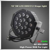Wholesale Power Equipments - High Power 18*3W Led Stage Light RGB Par Light DMX512 Master Slave Led Flat Equipments Controller for DJ Party KTV Disco