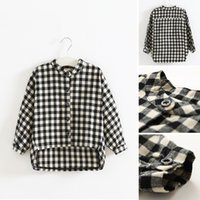 Wholesale Girls Baby Shirts - 2017 New Arrival Spring Autumn Baby Girls Casual Plaid Shirt Children Long Sleeve Plaid Shirt Kids Clothing 2 Colors