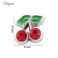 Wholesale Glass Fruit Charm - Fruit Crystal Red Cherry Alloy Floating Charm DIY Floating Locket Charm for Living Memory Glass Locket