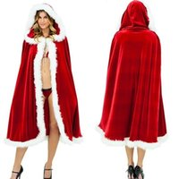 Wholesale Sexy Santa Claus Lady - New Red cloak sexy Christmas euramerican popularity cloak Hallowmas cosplay 2 size for lady free shipping