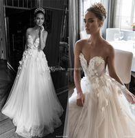Wholesale Wedding Dresses Rose Skirt - illusion jewel sweetheart embellished ruched bodice wedding dresses 2018 elihav sasson 3D rose flower chapel train wedding gowns