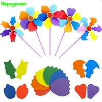 Happyxuan 5pcs / lot Kids DIY Craft Kits EVA Windmill Wind Spinner Whirligig Plastic Children's Kindergarten Brinquedos Educativos