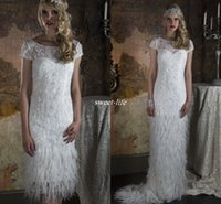 Wholesale Gatsby Wedding Dresses - Two Piece Feather Wedding Dresses with Greek Goddess Style Detachable Skirt Burlesque Gatsby 2016 Vintage Bridal Gowns For UK Brides 2 in 1
