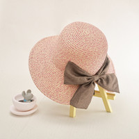 Plain Dyed outdoor sun decor - Straw Solid Ladies Cap Adjustable Bow Decor Hand woven Sun Hat Outdoor Folding Women Summer Beach Hat