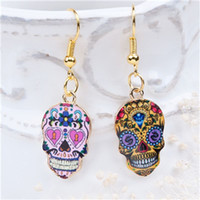 "Wholesale Skull 18k - New Fashion Earrings Gold Plated Multicolor Halloween Sugar Skull Pattern 41mm(1 5 8"") x 13mm( 4 8""), 1 Pair"
