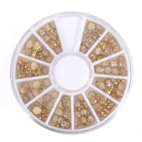 Wholesale 3d Diy Nail Art Pearl - 1pcs Nail Art Wheel Decoration 3D White Multi-Color RhinestoneTips Pearl Manicure For Women Nails DIY Tools