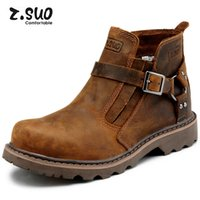 Wholesale Boots Cowhide - New Z.suo Handmade Cowhide Genuine Leather Men Martin Ankle Boots Working Boots Platform Buckle Fashion Men's Work Safety Boots,Size:39-44
