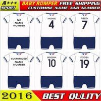 Wholesale Christmas France - 2017 baby clothing New style France Home Away White Blue Soccer Football bebe onesie romper Giroud GRIEZMANN Payet MARTIAL Free Shippment