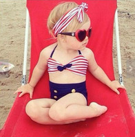 Wholesale Sailor Bikini Bathing Suit - Stripe Bikini Girls Sailor Swimsuits Children Bathing Suit for Kids Swimsuit 3pcs Set with Bow Headband