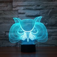 Wholesale Night Owl Design - 2017 New Design Owl 3D Optical Lamp Night Light 9 LEDs Night Light DC 5V Colorful 3D Lamp