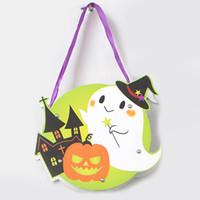 Wholesale Diy Bag Decoration - Halloween Gift Bags DIY Paper Halloween Decorations Candy Bag Drawstring Kids Trick or Treat Bag Children Pumpkin Bags Gift Bags