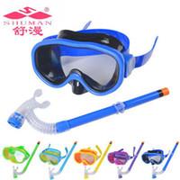 Wholesale Children Snorkel - New Arrival PVC Swimming Scuba Anti-Fog Goggles Mask & Snorkel Set Diving glasses ZD084A