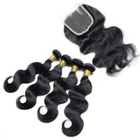 Wholesale Goddess Human Hair - Cheap human hair body wave with Closure grade 8a virgin hair with closur 8-30inch Natural Color Dyeable goddess hair weave wholesale