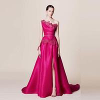 Wholesale red marchesa dress - 2016 Newest Satin Prom Dresses One Shoulder SideSplit Prom Gowns Applique Floor Length Sleeveless Marchesa Resort Arabic Prom Dresses