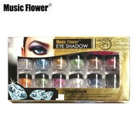 Wholesale Wholesale Glitter Flowers - Music Flower 1Set 12Colors Eye Shadow Loose Powder Palette Mineral Pigment Eyeshadow Glitter Metallic Shimmer Makeup
