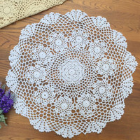 Wholesale Round Handmade Tablecloth - Wholesale- yazi Handmade Cotton Hollow Floral Placemat Round Doily Pads Crochet Table Mat Table Cover Tablecloths
