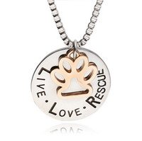 "Wholesale Tin Tags Wholesale - Hot Pet Lover Dog"" live love adopt "" Pet Rescue Paw Print Tag Jewelry Sunshine Love Rescue Letter For Dog Lover Necklace Pendant"