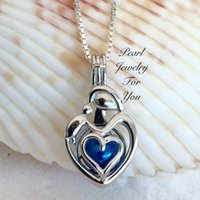 Wholesale Mother Children Sterling - MOTHER CHILD Family STERLING SILVER Pearl Cage Pendant Necklace akoya oyster