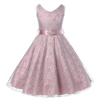 Wholesale Summer Striped Bowknot Dress - Kids Party Dress Girl Bowknot Princess Dress Sleeveless Lace Wedding Dress 11 Colors 7 p l