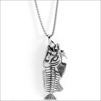 """Wholesale Hollow Silicone Necklace - Top Grade Popular Personality 316L Stainless Steel Hollow Fish Bone Biker pendant necklace 3.54""""* 1.18"""""""
