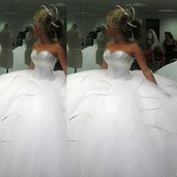 Wholesale Strapless Tulle Ballgown - 2016 Bling Bling big poofy wedding dresses Custom Made Plus Size Tulle Ball Gown Beads Crystal vestidos de novia puffy Ballgown Dress
