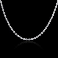 Wholesale Round String Necklace - Brand Jewelry Silver necklace mens necklace jewelry twisted rope simple round with gifts box wholesale statement necklace NK-13