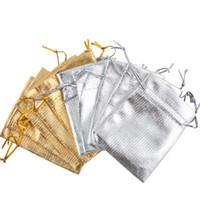 Wholesale Satin Jewelry Packaging Wholesale - Gold Silver Drawstring Organza Bags Jewelry Organizer Pouch Satin Christmas Wedding Favor Gift Packaging 7x9cm 100pcs lot