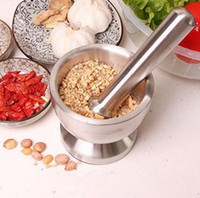 Wholesale Wood Presses - Stainless Steel Mortar and Pestle Pedestal Bowl Kitchen Garlic Pugging Pot Herb Mills Mincers Garlic Press Pot Herb OOA2592