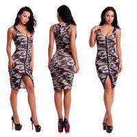 Wholesale Hooded Vest Dress - Women's Hooded vest type Bandages Dresses The Cool Gray camouflage Front Slit short Dress Summer mini Bodycon Dresses