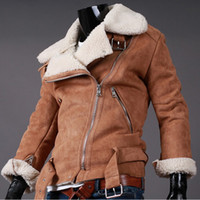 Wholesale Mens Faux Jacket - Fall-Cheap Winter Lamb Shearling Mens Motorcycle Leather Jacket Suede Fake Lined Short Faux Fur Coats For Men Black Brown