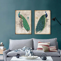 2pcs Unframed Vintage Style Green Peacock Canvas Poster de pintura Retro Picture Picture Sala de estar Bedroom Home Decor Wall Art