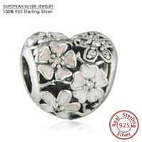 Slides, Sliders spring blooming flowers - 2016 Spring Collection Poetic Blooms with Enamel Charm Beads Fits Pandora Bracelets Sterling Silver Heart Bead DIY Jewelry