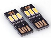 banco de energía portátil ligero al por mayor-Portátil Mini USB Power 6 LED Lámpara 1W 5V Touch Dimmer Warm / pure White Light para Power Bank Ordenador portátil