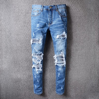 Wholesale Vogue Classic - New Famous Brand AMIRI Jeans Men Frayed Whisker Jeans Cowboy Vogue Leisure Denim Pants Pleated Stitching Casual Travel Trousersb